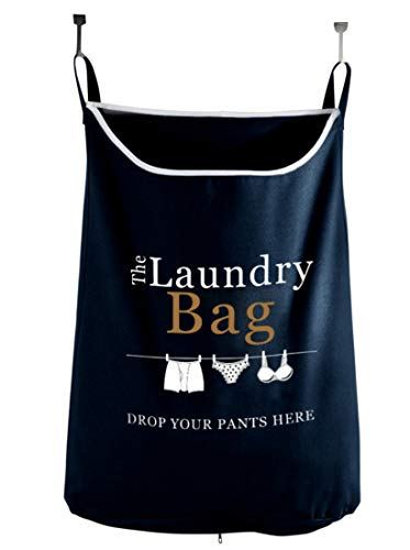 Drop Your Pants Here Hanging Laundry Hamper Bag with Free Door Hooks - by The Fine Living Co USA (The Over Clothes Hamper Door)