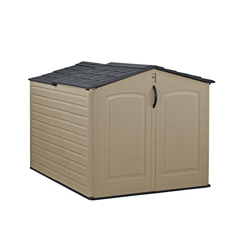 Rubbermaid Roughneck Storage Shed, Slide-Lid Faint Maple and Brown ()