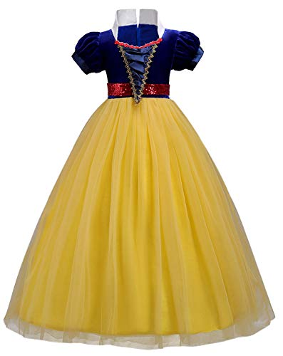OwlFay Girls Princess Snow White Costume Dress Velvet Sequins Halloween Party Fancy Dress up Cosplay Cartoon Queen Transforming Dress Pageant Long Dresses Gown for Kids Birthday Yellow 12-13Y