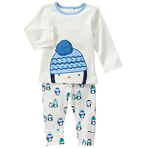 Gymboree Baby White and Blue Penguin Set, Jet Ivory, Sion-NB