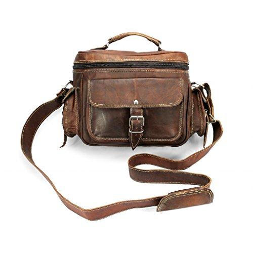 A.P. Donovan - Kameratasche Leder Tasche Kamera mit Trage-Griff - Fototasche, auch Platz fürs Objektiv und Spiegelreflex für Canon Nikon Sony