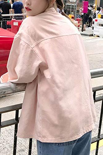 Chic Solidi Lunga Giaccone Giubbotto Outerwear Autunno Colori Giubotto Primaverile Casuale Forti Tasche Manica Eleganti Moda Con Cute Donna Pink Bottoni Chiusura Confortevole Di Taglie 6wSCvqq