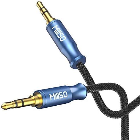 MillSO Audiokabel 3.5 Klinke auf 3.5 Klinke 120cm mit ergonomischem Rillendesign TRS Klinkenstecker für Smartphone, MP3 Player, Tablet PC, Auto & andere Stereo Geräte-[MeerBlau Junge Serie]