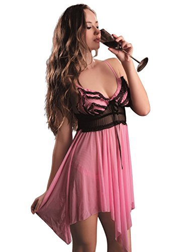 Josi Minea Womens Beautiful Sexy Lingerie Set - Elegantly Styled Intimate Design Pink Medium, Pink, Medium (Seduction Bustier Bridal)