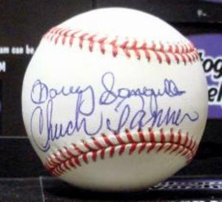 Manny Sanguillen and Chuck Tanner autographed baseball (OMLB Pittsburgh Pirates World Series Champion Manager traded for ()