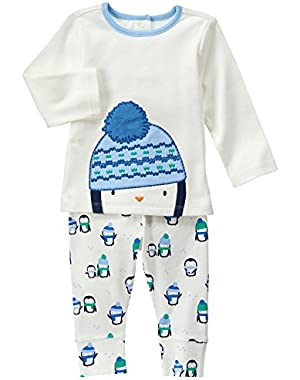 Baby White and Blue Penguin Set