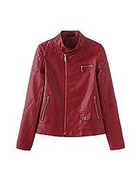 Zainafacai Women's Faux Leather Jacket,Moto Casual Short Jacket Slim Zipper Coat for Spring and Fall Outwear Overcoat