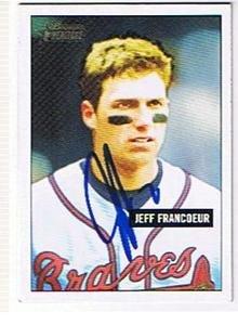 JEFF FRANCOEUR 2005 TOPPS BOWMAN REPRINT AUTOGRAPHED CARD -