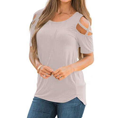 SCSAlgin blouse Fashion Womens Summer Short Sleeve Strappy Casual Cold Shoulder T-Shirt Blouse Tops (Gray, L)