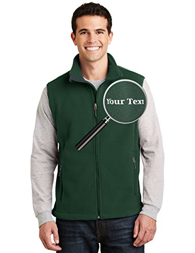 Custom Embroidered Mens Fleece Vest - Embroidery Zip Up Sleeveless Jacket for Men