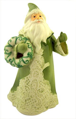 Porcelain Green Irish Lace Santa Claus Christmas Figurine, 7 Inch -