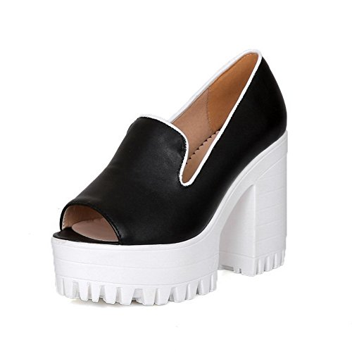 AllhqFashion Women's Peep Toe Pull-on PU Solid High-Heels Sandals Black