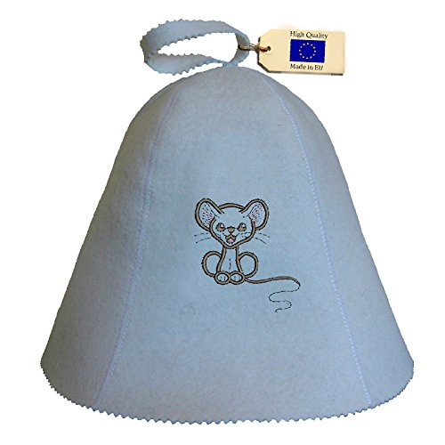 Allforsauna Sauna Hat Russian Banya Cap 100% Wool Felt Modern Lightweight Head Protection for Men and Women | Children Mouse