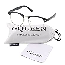 Glasses Queen 201556 Vintage Inspired Half Frame Wayfarers Clear Lens Glasses