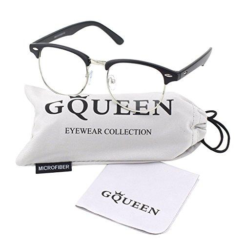 GQUEEN 201556 Vintage Inspired Classic Half Frame Nerd UV400 Clear Lens Glasses,Matte Black