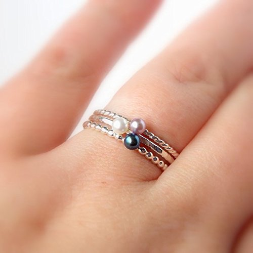 Mini Floating Freshwater Pearl Ring - 925 Sterling Silver Stacking Ring - Choose a 3mm White, Pink, or Black Freshwater Pearl - Choose a Hammered, Beaded, or Twisted Rope Band - Gift for Her