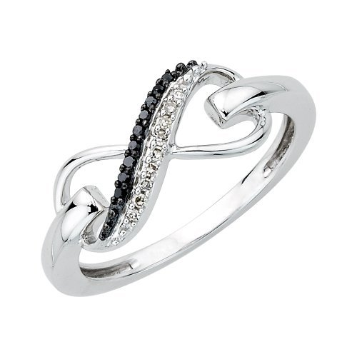 KATARINA Two Row Infinity Black and White Diamond Ring in Sterling Silver (1/20 cttw) (Size-6) (J-K, SI2-I1)