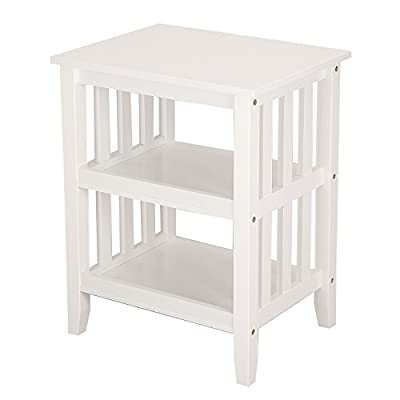 ELEGAN Morden Home Bed Room Square Hollow-Out Side / End Table Night Stand (Soft White)