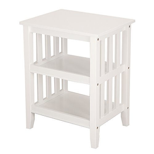 ELEGAN Mordern Simple Home Living Room Bed Room Hollow-Out Side / End Table Night Stand (White)