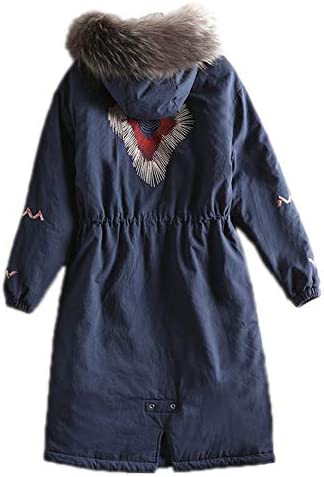 Veste en Coton Hiver De Femme À Capuchon Plus Size Manteaux Chaud Épais Manteau Parka Mode De Col en Fourrure,Darkblue,5XL