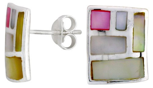 - Sterling Silver Rectangular Post Shell Earrings, w/ Pink & White Mother of Pearl inlay, 1/2 inch (15 mm) tall