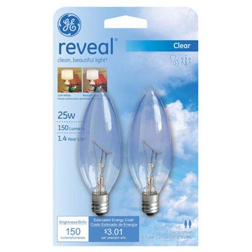 Blunt Tip Light Bulb - GE Lighting Reveal 48700 25-Watt, 150-Lumen Blunt Tip Light Bulb with Candelabra Base, 2-Pack