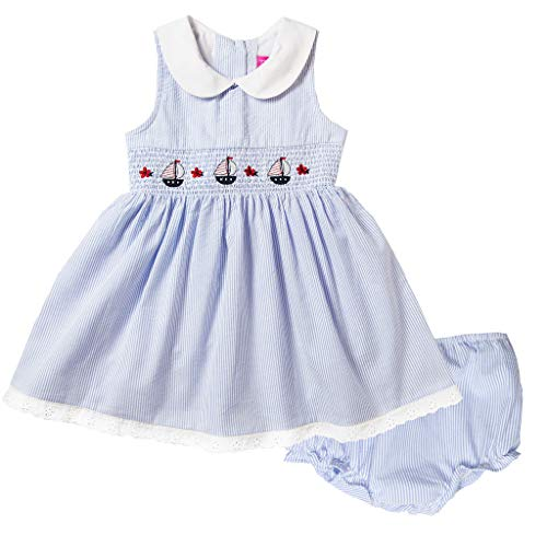 Good Lad Girls Dress - Good Lad Newborn/Infant Girls Red or Blue Seersucker Nautical Smocked Dress w/Matching Panty (12M, Blue)