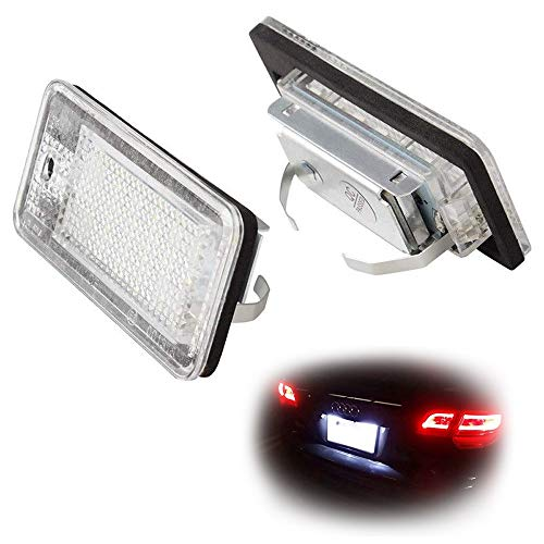 iJDMTOY OEM-Fit 3W Full LED License Plate Light Kit For Audi A3 S3 A4 S4 A5 S5 A6 S6 A8 S8 Q7, Powered by 18-SMD Xenon White LED & Can-bus Error Free (Bus License Plate)
