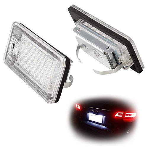 (iJDMTOY OEM-Fit 3W Full LED License Plate Light Kit For Audi A3 S3 A4 S4 A5 S5 A6 S6 A8 S8 Q7, Powered by 18-SMD Xenon White LED & Can-bus Error Free)