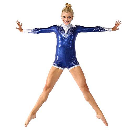 Alexandra Collection Womens Simply Majestic Metallic Performance Dance Costume Biketard Navy (Aerial Dance Costumes)