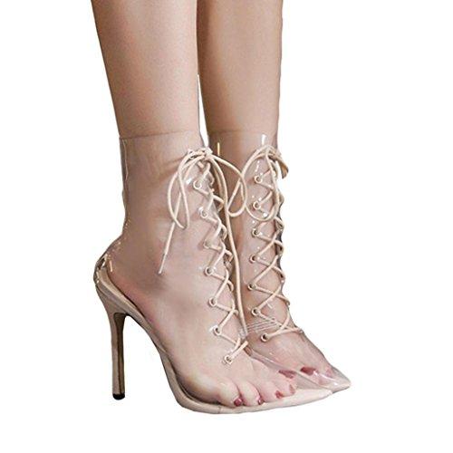Women High Heel Shoes, Boyfriend Best Love Clear Transparent Bandage High Heeled Pointed Boots Strap Sandals (Khaki, US:6.5) by CieKen Women Shoes