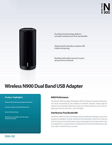 D-Link Wireless Dual Band N-900 Mbps USB Wi-Fi Network Adapter (DWA-162)