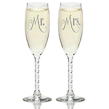 Smart Tart Mr. and Mrs. Silver Wedding Champagne Flutes, Elegant Toasting Glasses
