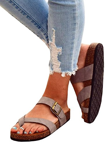 Huiyuzhi Womens Flat Gladiator Sandals Ankle Wrap Strappy Buckle Thong Flip Flops Sandal (8 B(M) US, (Flip Flops Thong Strappy Sandals)