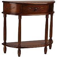 International Caravan Carved Wood Half-moon Sofa/Hall Table