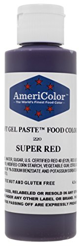 AmeriColor Food Coloring, Super Red Soft Gel Paste, 4.5 Ounce ()