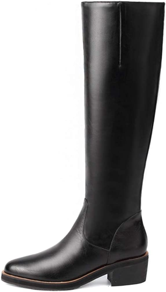 Hoxekle Square Heels Round Toe Boots Women Faux Leather Shoes Zip Up Shoes Woman Knee High Booots