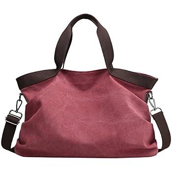 2370f1d61c Lonson Canvas Big Tote Bag Large Purse Handbags Shoulder Bag for Women  (Wine Red)