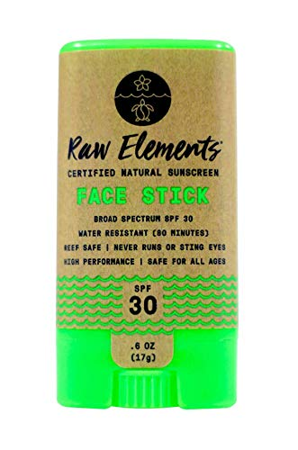 Raw Elements Face Stick Certified Natural Sunscreen | Non Nano Zinc Oxide, 95% Organic, Very Water Resistant, Reef Safe, Non GMO, Cruelty Free, SPF 30+, Moisturizing, 0.6oz (Packaging May Vary)