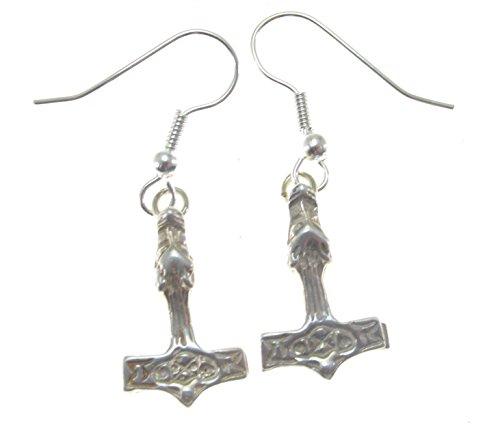 Thor's Hammer Wolf Earrings