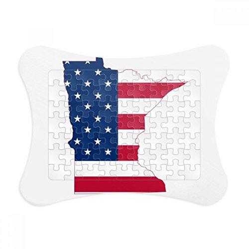 Minnesota USA Map Stars Stripes Flag Shape Paper Card Puzzle Frame Jigsaw Game Home Decoration (Minnesota Star Stripes)