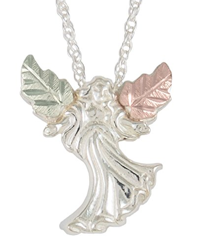 Angel Pendant Necklace, Sterling Silver, 12k Green Gold, 12k Rose Gold Black Hills Gold, 18