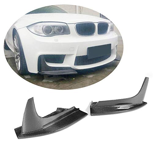 (MCARCAR KIT Front Bumper Splitter fits BMW 1 Series E82 1M Coupe 2011-2018 Customized Real Carbon Fiber CF Moulding P Look Upper Spoiler Winglets Vents Cover Flaps)