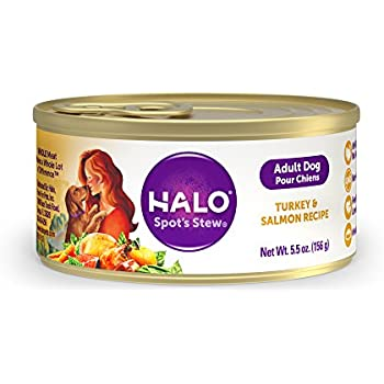 Halo Holistic Wet Dog Food, Turkey and Salmon Recipe, 5.5 OZ of Canned Dog Food, 12 Cans