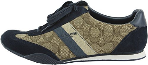 Coach Womens Kelson Lage Top Lace Up Fashion Sneakers Khaki / Midnight Marine Sig / Suede