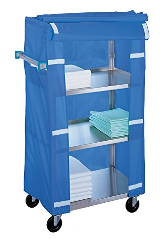 Lakeside 332 Linen Cart with Cart Cover, 4 Shelves, Stainless Steel, 300 lb. Capacity, 16-1/4
