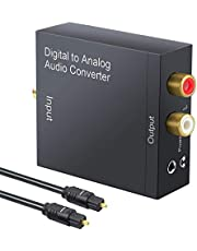 TERSELY DAC Digital to Analog Converter 192KHz SPDIF Toslink to Analog Stereo RCA 3.5mm Audio L/R Converter Adapter with Optical Cable for PS3 Xbox HD DVD PS4 Home Cinema Systems AV Amps Apple TV