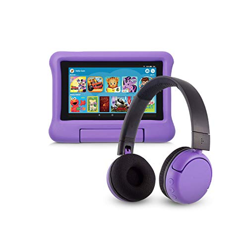 Fire 7 Kids Edition Tablet (16 GB, Purple Kid-Proof Case) + BuddyPhones Headset, Pop Time in Purple (Ages 8-15)