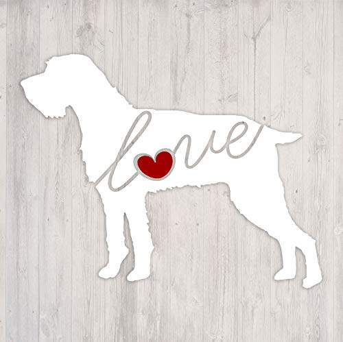 German Wirehaired Pointer (GWP) Love - Car Window Vinyl Decal Sticker (Script Font)