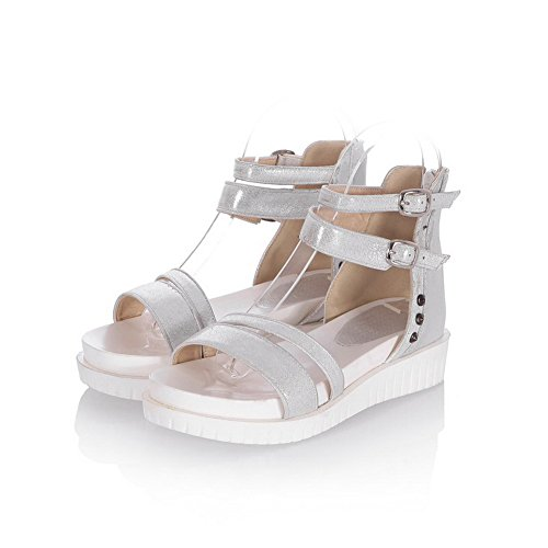 AmoonyFashion Womens Pu Solid Zipper Open Toe Kitten Heels Sandals Silver MuQKAcCk